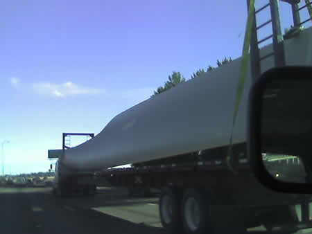 wind turbine blade in transit
