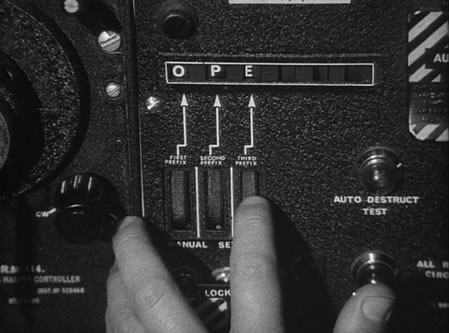 Entering the 'OPE' code into the CRM-114 in 'Dr. Strangelove'