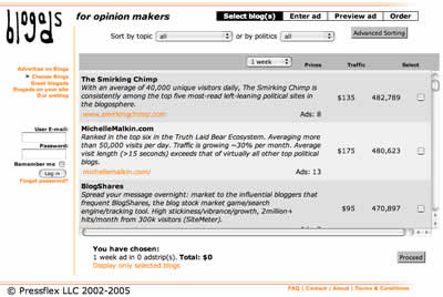 Blogads screen shot