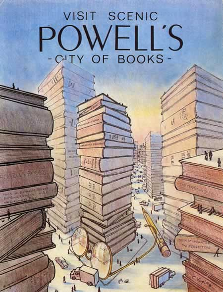 Powell's City of Books postcard. ©1984 Stephen T. Leflar