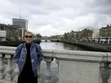 Barbara in Dublin over the River Liffey