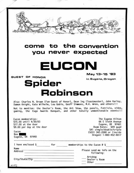 Flyer for the 1983 EUCON science fiction convention in Eugene, Oregon
