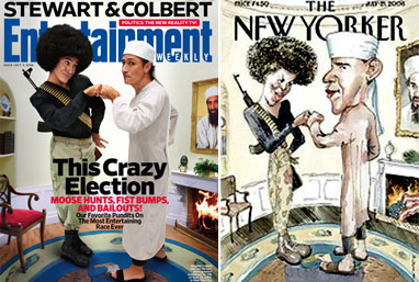 Stewart & Colbert recreate the Obama's New Yorker cover