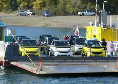 smart cars on the Wheatland Ferry