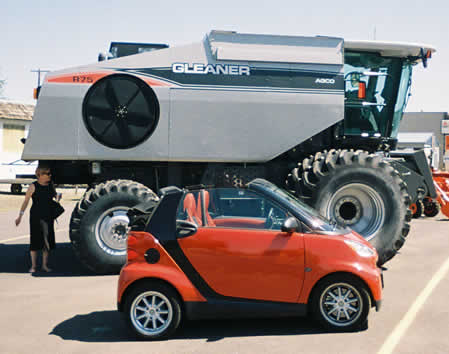 Barbara, smart car, and Gleaner R75 in Dayton, Washington