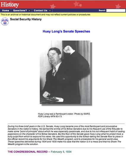 Huey Long speeches at Social Security Online