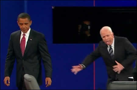 John McCain leaves the stage after the third 2008 presidential debate