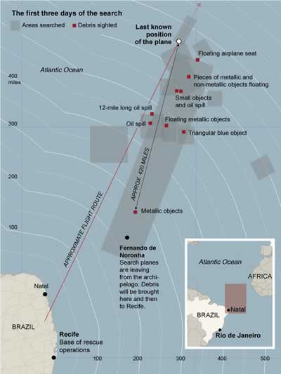 New York Times Map of Air France search