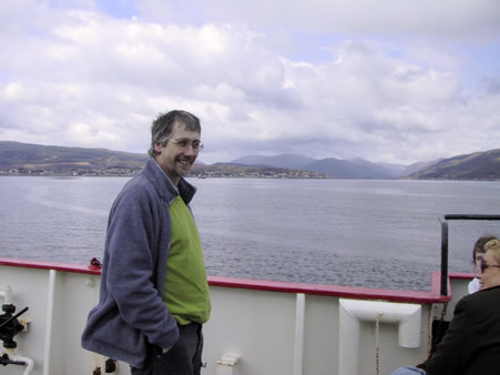 James Newton on the ferry across the Firth of Clyde