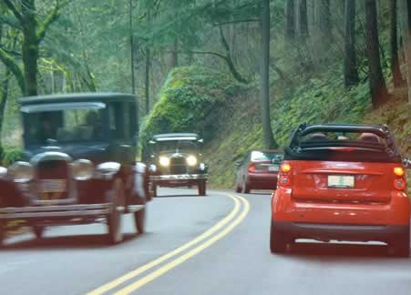Two car rallies meet west of Multnomah Falls on the Old Columbia Gorge Highway