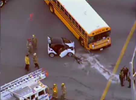 Smart car accident with school bus