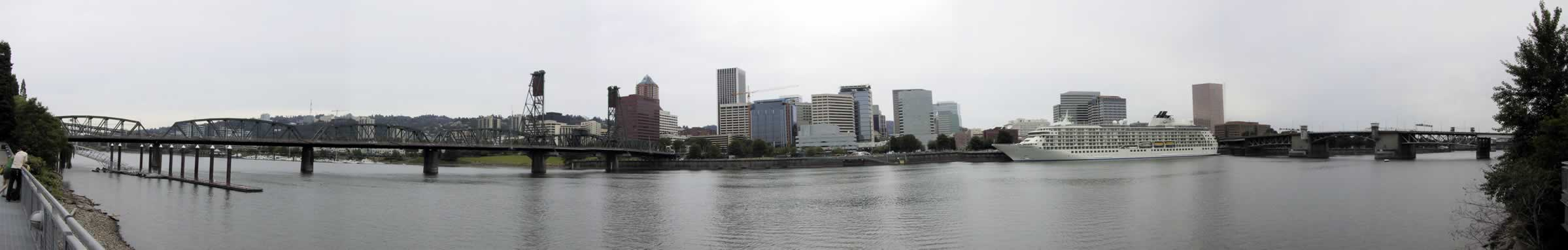 Panorama of The World docked at Portland's Tom McCall Waterfront Park
