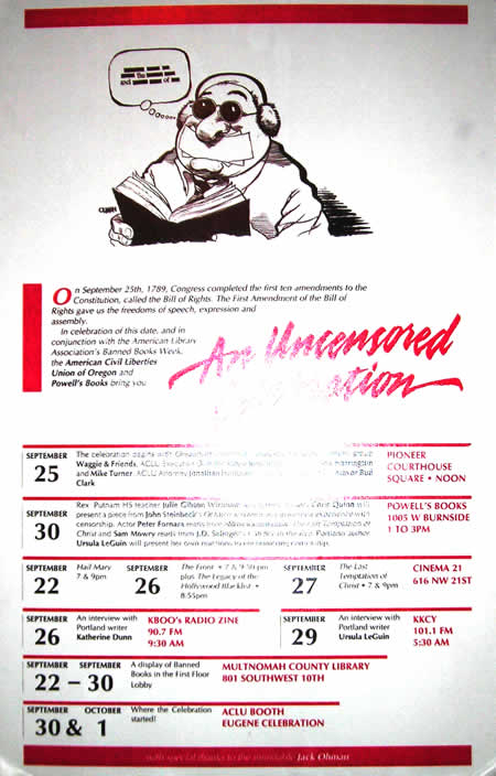 An Uncensored Celebration: 1989 poster for Portland's Banned Book Week and 200th anniversary of the Bill of Rights